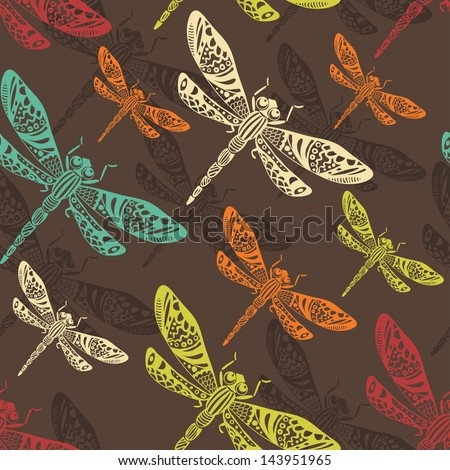 Hand drawn stylized dragonflies seamless pattern. Endless backdrop - stock vector