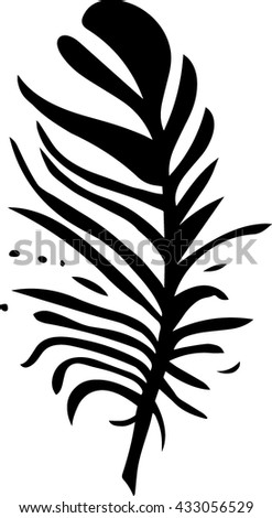 Hand drawn stylized feather black color. Feather isolated icon. Black feather nature bird. (Can be used as texture for cards, invitations, DIY projects, web sites or for any other design.)
