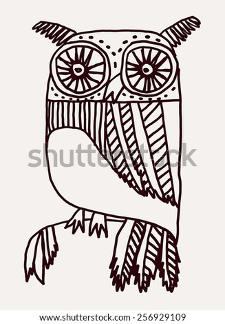 Hand drawn stylized owl