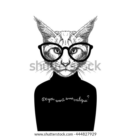 Hand Drawn stylized portrait of cat look like critique, whose wearing glasses and a sweater. - stock vector