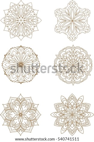 Hand drawn, stylized, vector set of mandala.