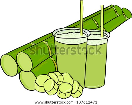 hand drawn sugar cane juice