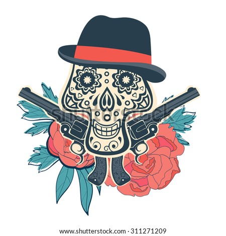 Hand drawn sugar skull with flowers and guns. vector iilustration - stock vector