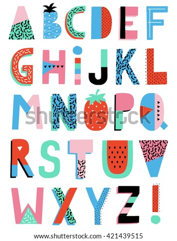 Hand Drawn Summer Creative Alphabet. Vector. - stock vector