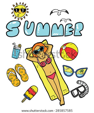hand drawn summer doodle  - stock vector