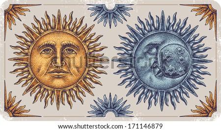 Hand-drawn sun and moon. - stock vector