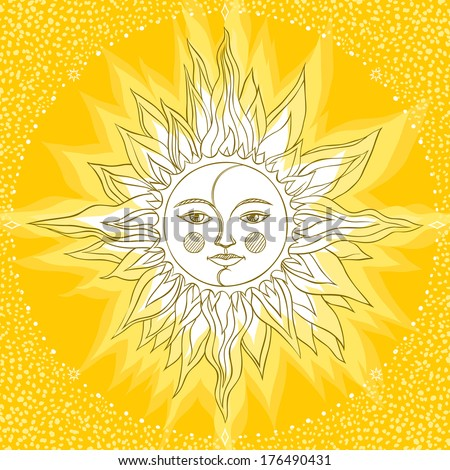 Hand-drawn sun in retro style on yellow background - stock vector