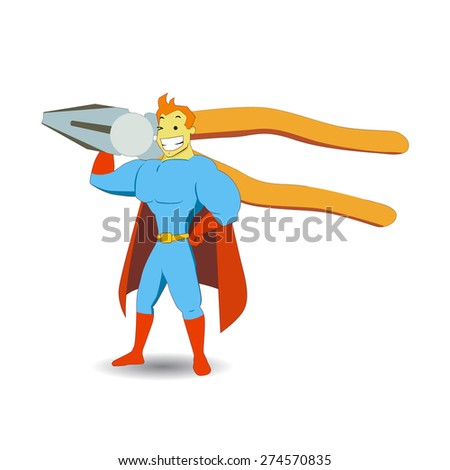 Hand drawn superhero cartoon brings a giant pliers object on his shoulder. Perfect for magazine illustration or website design elements
