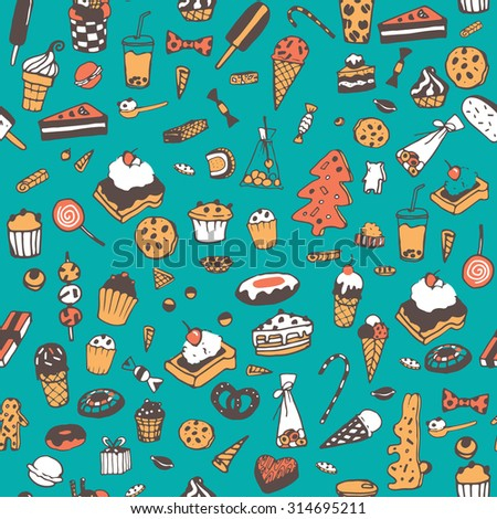 Hand drawn sweets, candy, cakes, lollipop, sweetmeats, gingerbread, ice cream. Vintage elements for confectionery, sweet-shop, pastry-shop. Sweet seamless pattern.  - stock vector