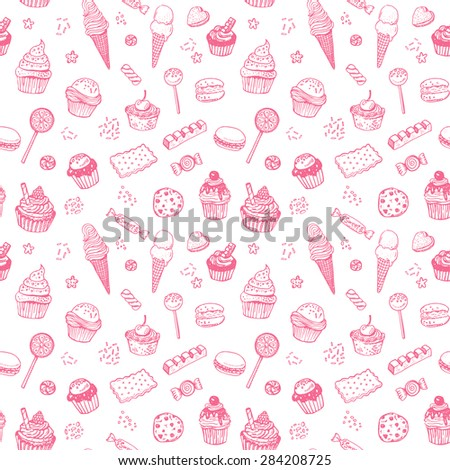 Hand drawn sweets doodle seamless pattern with candies, cupcakes, cookies, chocolates, lollipops and jellyes - stock vector