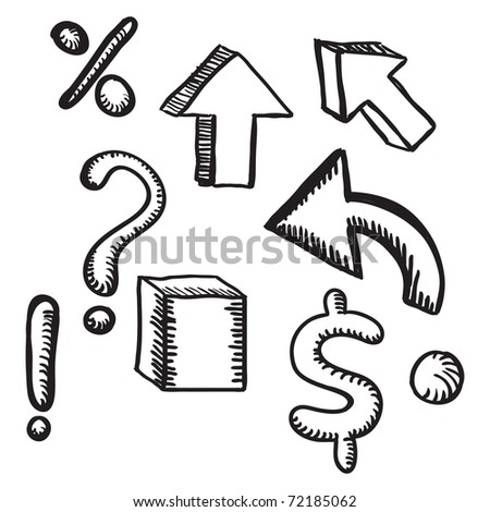 hand-drawn symbols - stock vector