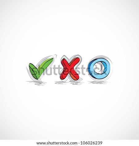 hand drawn symbols for checklist - illustration - stock vector