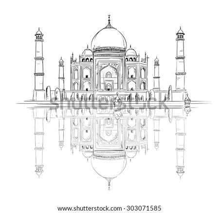 Hand drawn Taj Mahal with reflection, vector Illustration, sketchy design  - stock vector