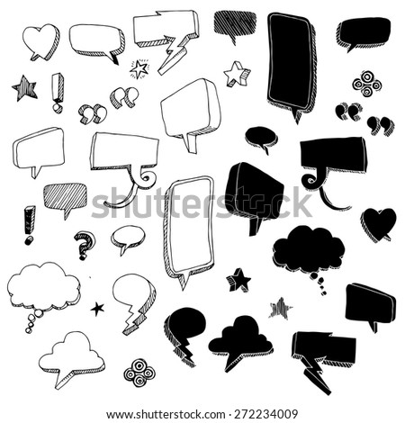 Hand-drawn talk bubbles - stock vector