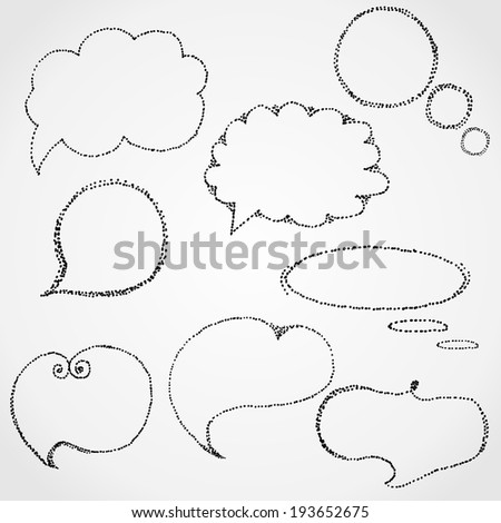 Hand Drawn talking cloud in black point. - stock vector