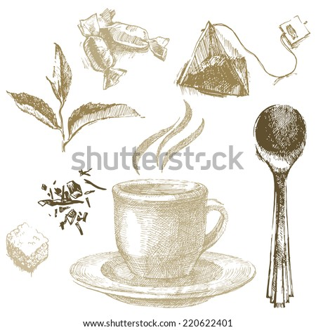 hand drawn tea icons in vintage style - stock vector
