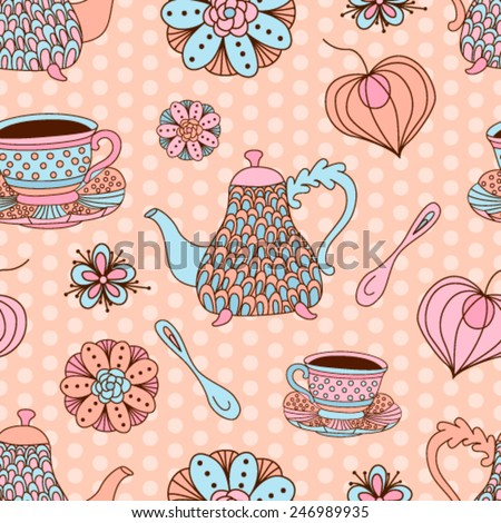 Hand drawn tea pattern with teapots, cups, sweets and flowers. Seamless template in vintage style for web, fabric and wrapping.