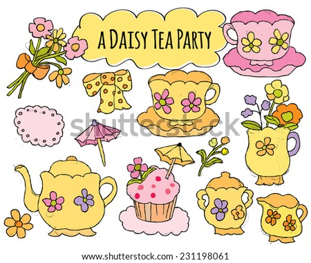 Hand Drawn Tea Set for Floral Tea Party - stock vector