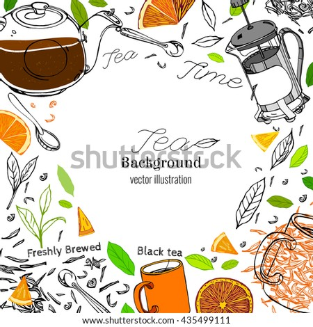 Hand drawn tea time image in artistic style. Vector editable illustration on a white background. Glass round teapot, coffeemaker, spoons and cups, orange slices and tea leaves. - stock vector