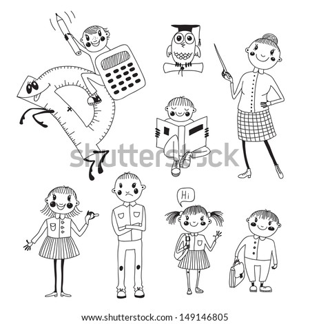 Hand drawn teacher and schoolchildren.  - stock vector