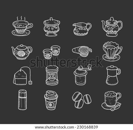 Hand drawn teatime icons - stock vector