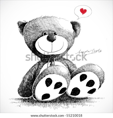 Hand drawn teddy bear isolated on white. - stock vector