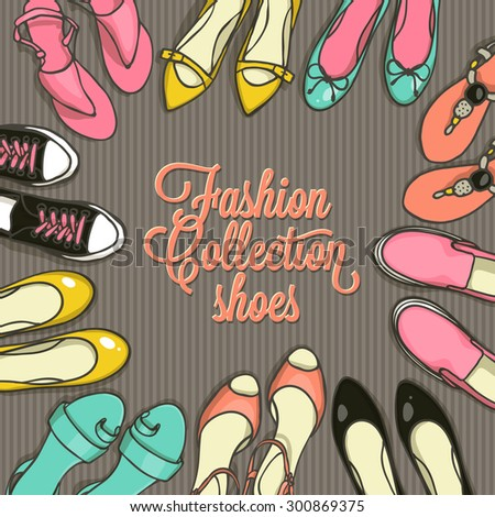 Hand drawn template with female shoes set. Vector top view objects illustrations. Spring-summer fashion collection. Doodle sketch background for shoes shop in retro style. - stock vector
