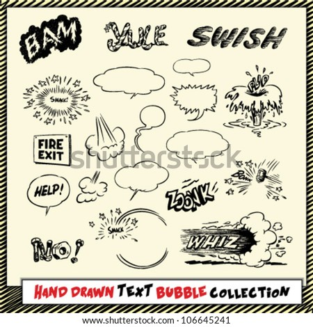 Hand drawn text bubble and action cloud collection in black on light yellow background - stock vector