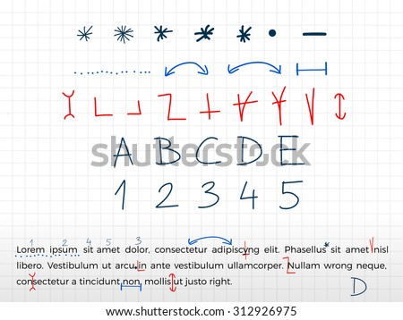 Hand drawn text correction elements. Vector. - stock vector