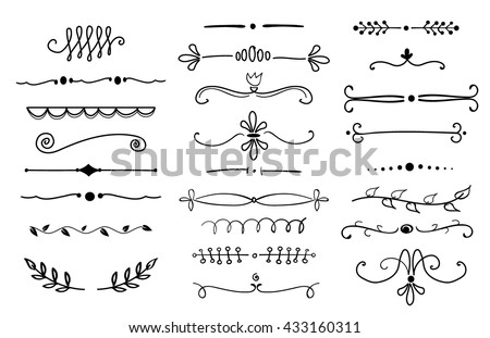 hand drawn text dividers design elements set - stock vector