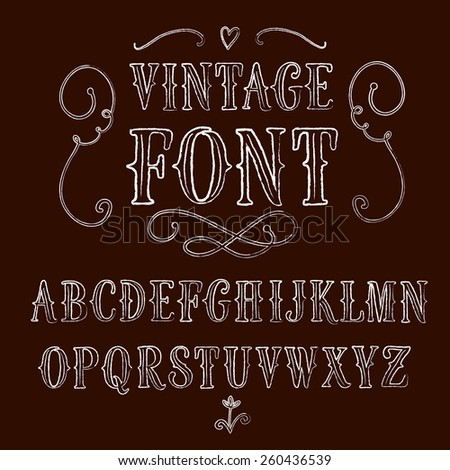 Hand drawn textured decorative vintage vector ABC letters . Nice font for your design.  - stock vector