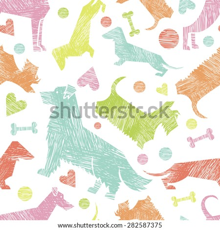 Hand drawn textured dog breeds silhouettes  seamless pattern. All objects are conveniently grouped and are easily editable. - stock vector