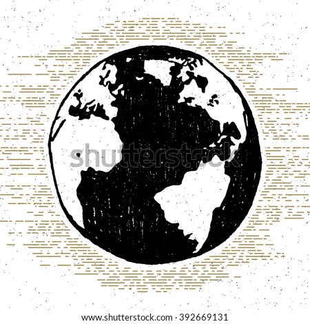 Hand drawn textured icon with planet Earth vector illustration. - stock vector