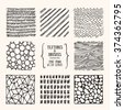 Hand drawn textures and brushes. Artistic collection of design elements: bubbles, brush strokes, wavy lines, abstract backgrounds, wood pattern made with ink. Isolated vector. - stock vector