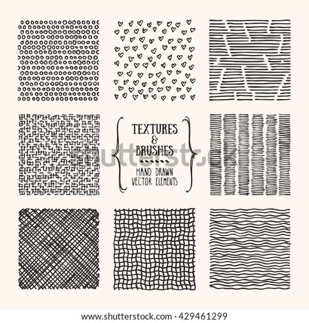 Hand drawn textures and brushes. Artistic collection of design elements: bubbles, brush strokes, paint dabs, hearts, wavy lines, abstract backgrounds, patterns made with ink. Isolated vector set. - stock vector