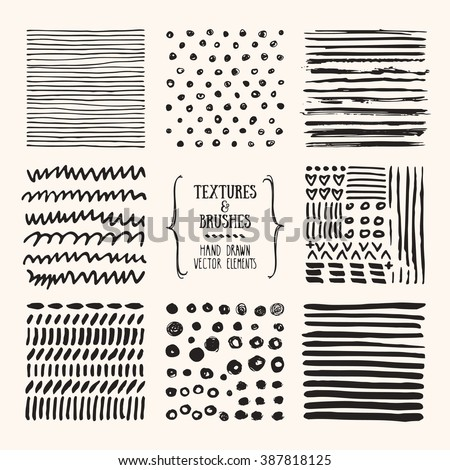 Hand drawn textures and brushes. Artistic collection of design elements: grungy lines, brush strokes, wavy lines, tribal backgrounds, natural pattern made with ink. Isolated vector.
