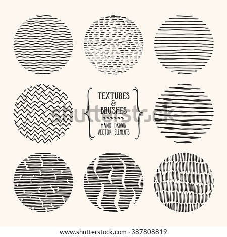 Hand drawn textures and brushes. Artistic collection of design elements: linear tribal ornaments, brush strokes, wavy lines, abstract backgrounds made with ink. Isolated vector. - stock vector