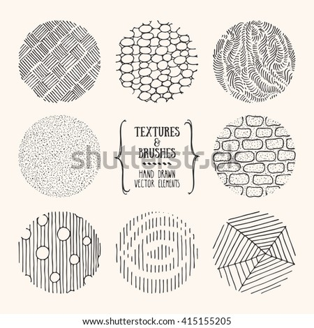 Hand drawn textures and brushes. Artistic collection of design elements: tribal patterns, geometric ornaments, abstract lines made with ink. Isolated vector. - stock vector