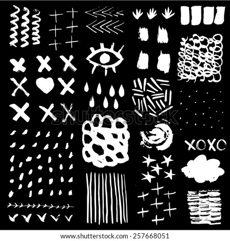 Hand Drawn textures made with ink. - stock vector