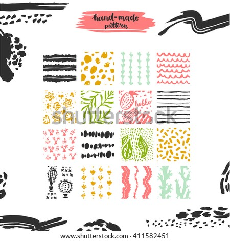 Hand drawn textures, template for celebration, invitation, greeting. Hatching drawn seamless, pattern, vector design elements. Set of  background texture, points, strokes, ornament in grunge style  - stock vector