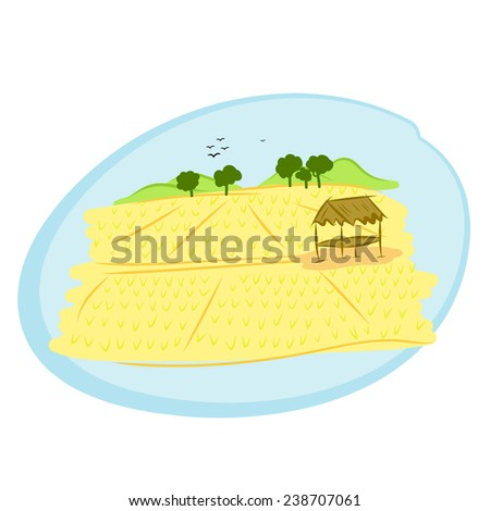 hand drawn thai rice field rural landscape - stock vector