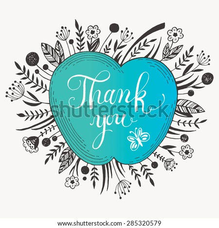 Hand drawn Thank you card. Vector illustration - stock vector