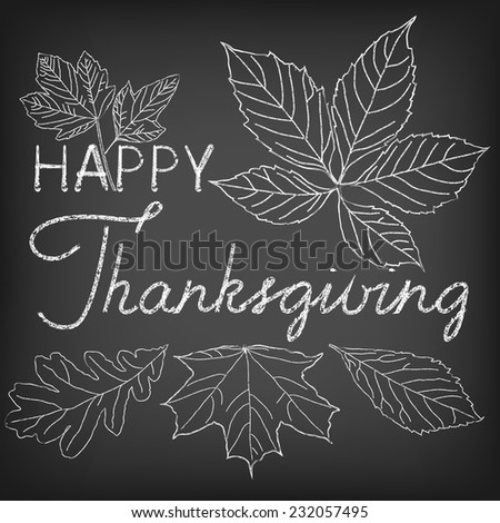 Hand drawn thanksgiving greeting card with leaves. Thanksgiving background.  - stock vector