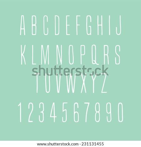hand-drawn thin alphabet - stock vector