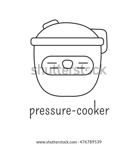 Hand drawn thin line icon, vector logo template illustration. Pressure cooker isolated symbol. Black on white pictogram. Simple mono linear modern design.