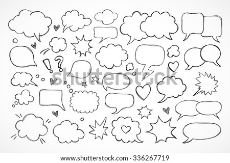 Hand drawn thought and speech bubbles and balloons - stock vector