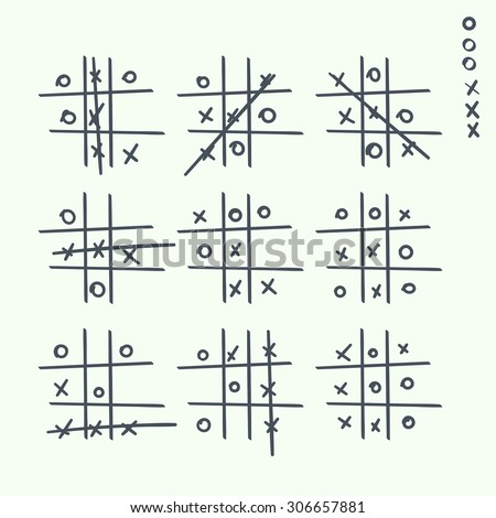 Hand drawn tic-tac-toe elements.  Grid game, cross, toe. Strategy for Victory - stock vector