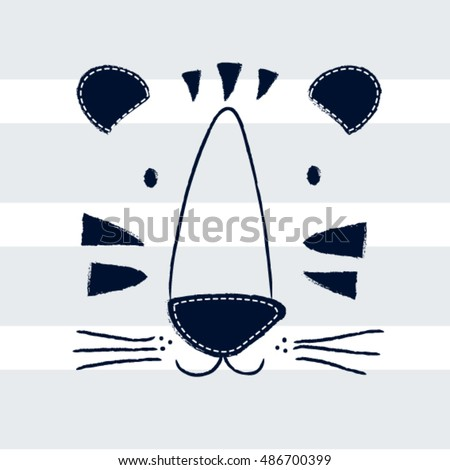 hand drawn tiger on striped background, T-shirt graphics for kids vector illustration