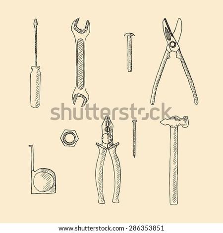 Hand drawn tools set illustration. - stock vector