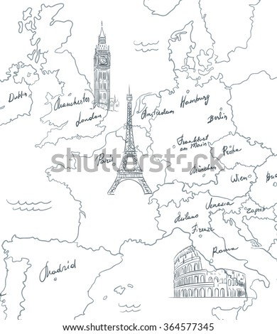 Hand drawn tourist map with sights of Europe - stock vector